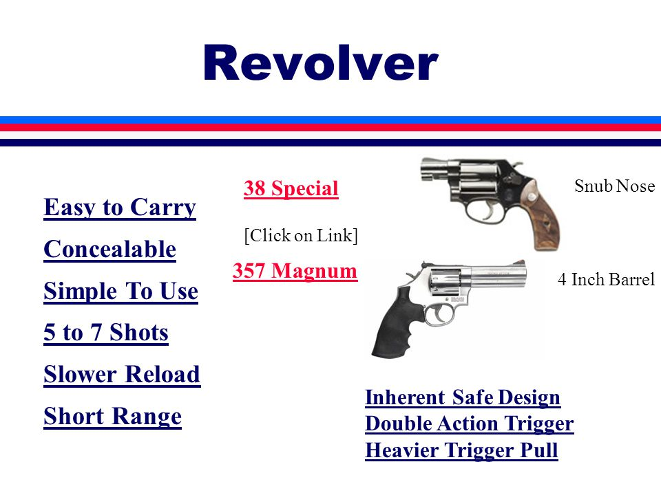 Revolver Easy to Carry Concealable Simple To Use 5 to 7 Shots Slower Reload Short Range Inherent Safe Design Double Action Trigger Heavier Trigger Pull 38 Special [Click on Link] 357 Magnum Snub Nose 4 Inch Barrel