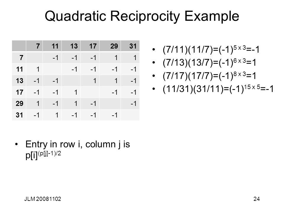 Quadratic Reciprocity Example Entry in row i, column j is p[i] (p[j]-1)/2 JLM 2008110224 71113172931 7 11 111 13 11 17 1 2911 311 (7/11)(11/7)=(-1) 5