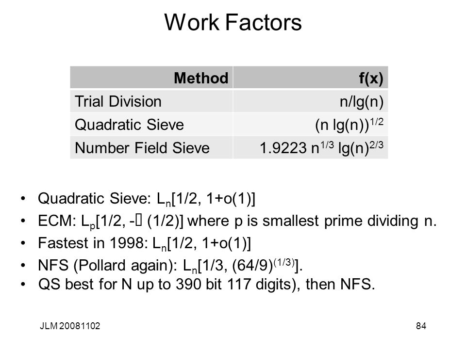 84 Work Factors JLM 20081102 Methodf(x) Trial Divisionn/lg(n) Quadratic Sieve(n lg(n)) 1/2 Number Field Sieve1.9223 n 1/3 lg(n) 2/3 Quadratic Sieve: L