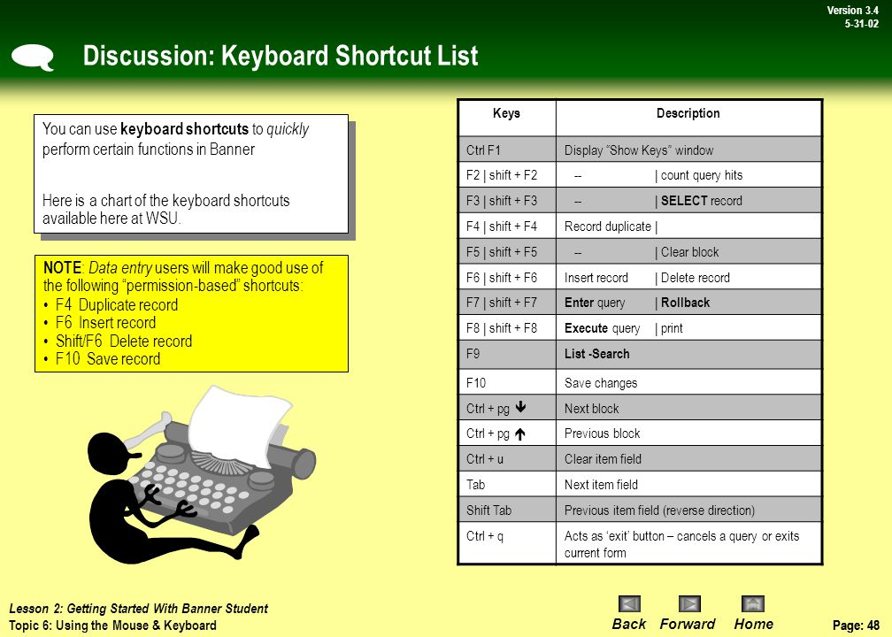 Page: 47 BackForwardHome Version # Page: 47 Version 3.4 5-31-02 Topic 6: Using the Mouse & Keyboard Like other software applications, Banner may be operated using keyboard commands and mouse activated commands.