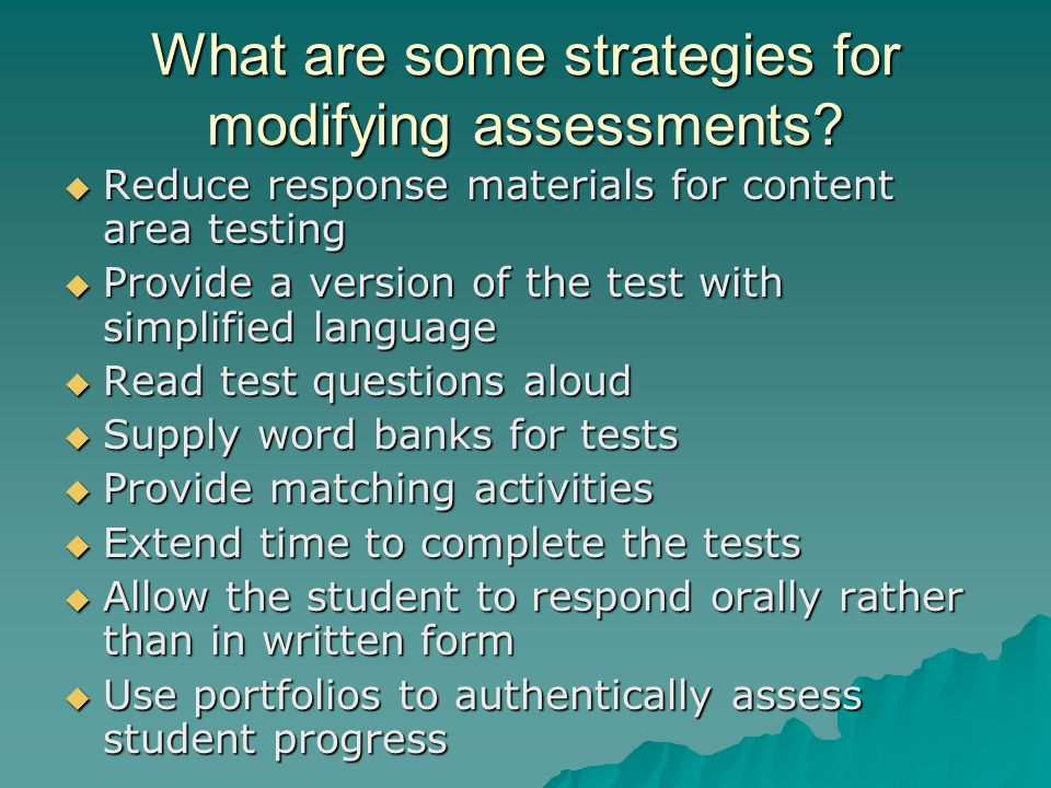 What are some strategies for modifying assessments.