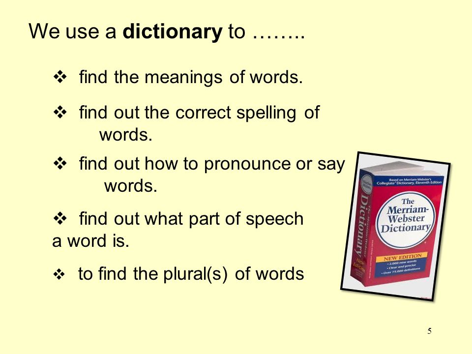 We use a dictionary to ……..  find the meanings of words.  find out the correct spelling of words.  find out how to pronounce or say words.  find o