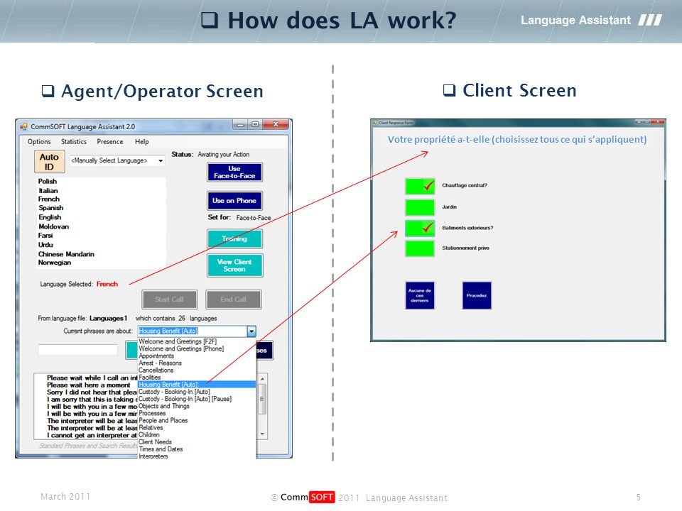 March 2011 © 2011 Language Assistant 5  Agent/Operator Screen  Client Screen  How does LA work.