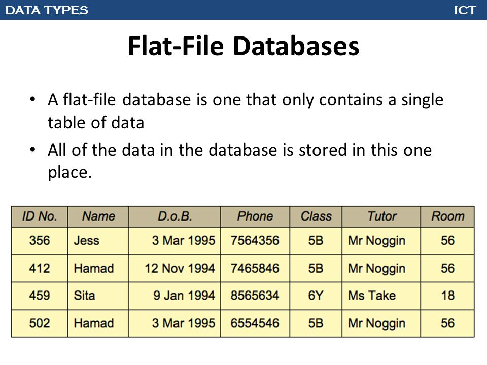 DATA TYPES ICT Flat-File Databases A flat-file database is one that only contains a single table of data All of the data in the database is stored in