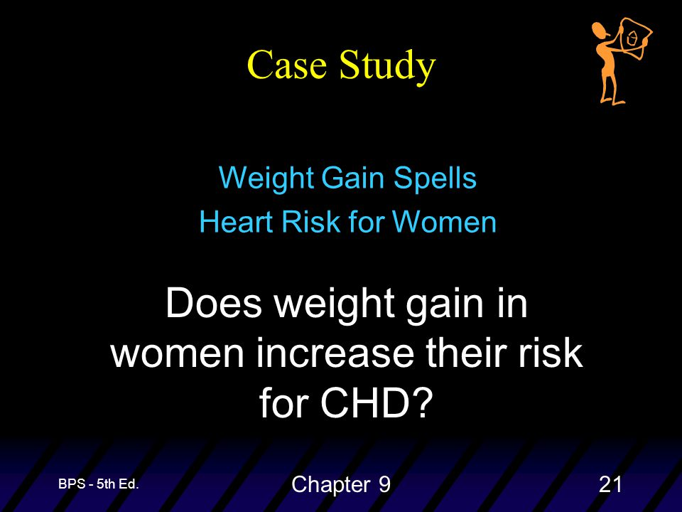 BPS - 5th Ed. Chapter 921 Case Study Does weight gain in women increase their risk for CHD.