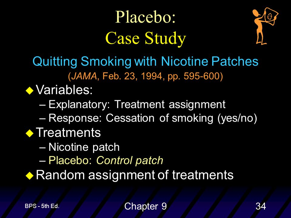 BPS - 5th Ed. Chapter 934 Placebo: Case Study Quitting Smoking with Nicotine Patches (JAMA, Feb.