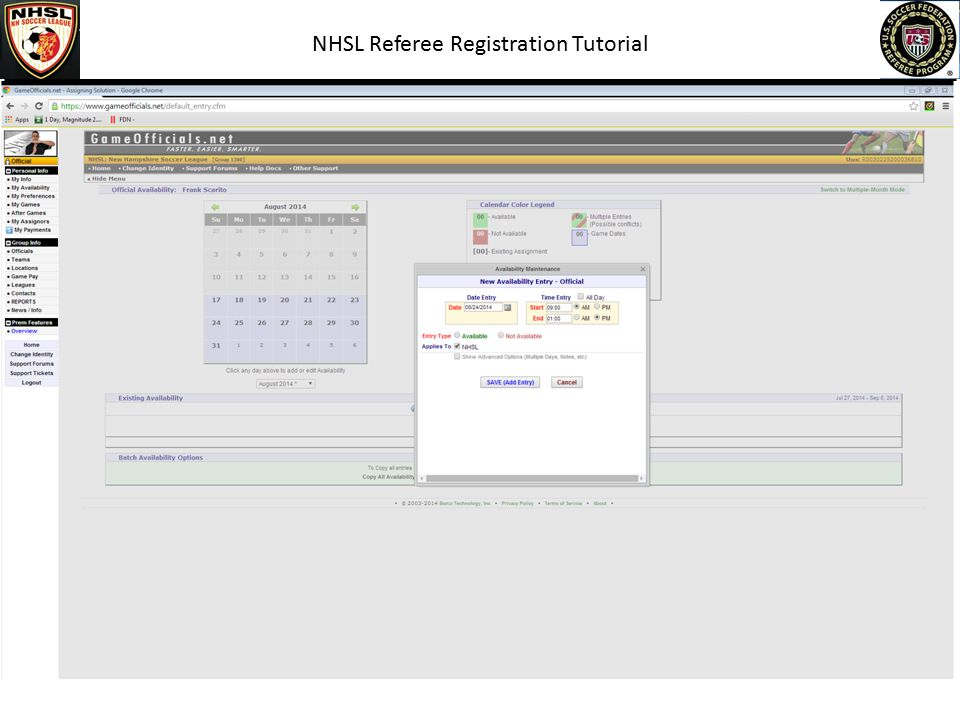 NHSL Referee Registration Tutorial Click My Availability