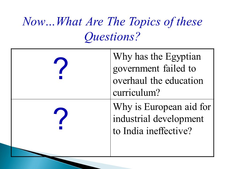 Now…What Are The Topics of these Questions.