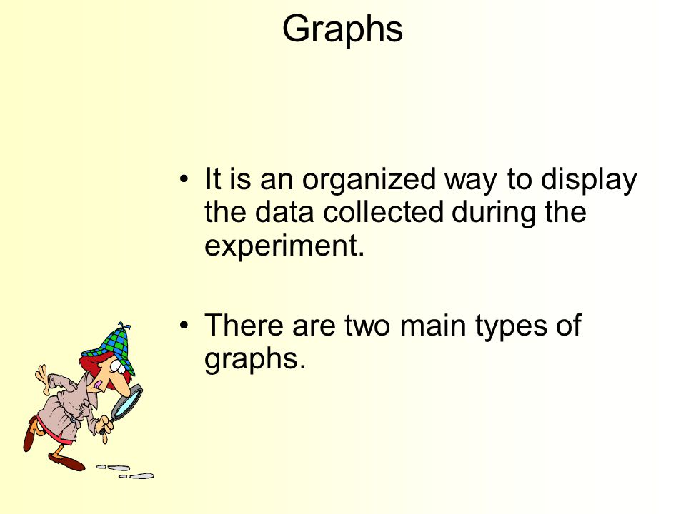 Keep the data in a chart or a table. All the trials of the experiment must be indicated.