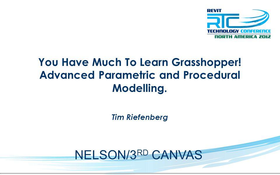 Tim Riefenberg NELSON – BIM specialist + Visual Director 3 rd Canvas - Developer SCAD 2005 Arch + VSFX