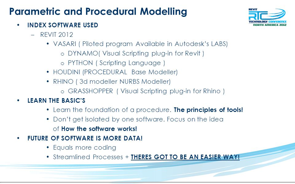 Parametric and Procedural Modelling Why parametric and procedural Modelling.