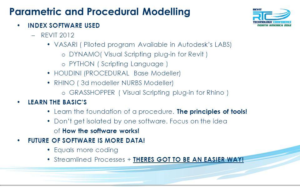 Procedural Based Modelling Procedural Modelling using Visual Scripting –Procedural Modeller HOUDINI <VSFX NURBS MODELER