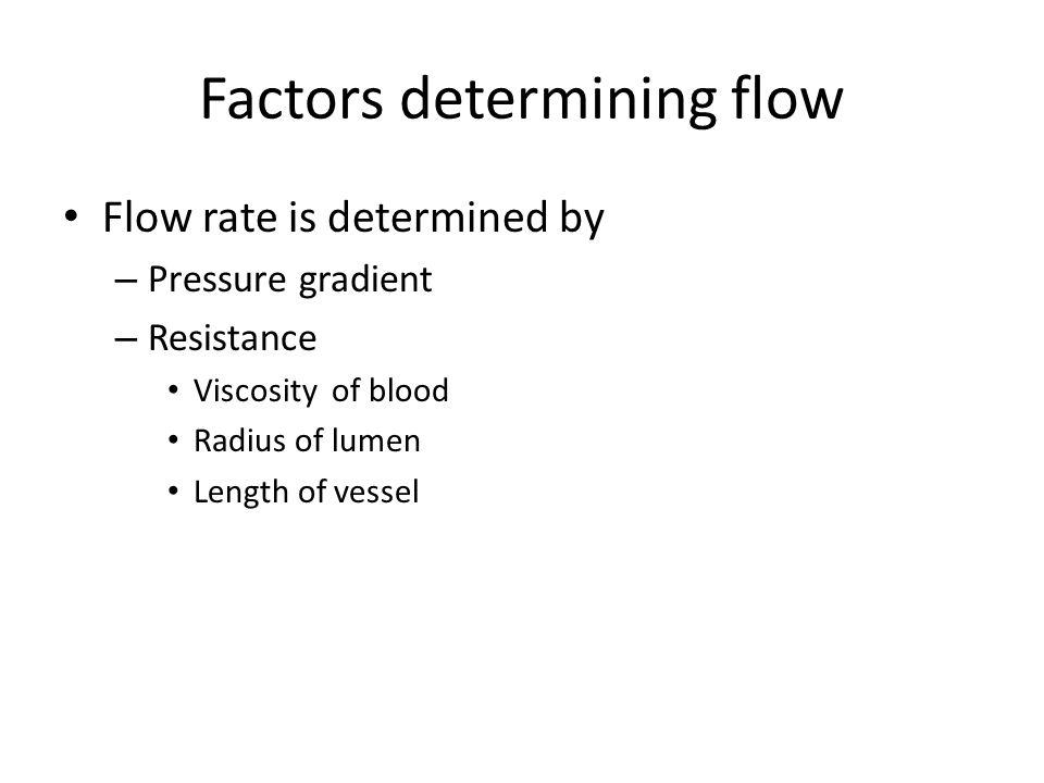 Factors determining flow Flow rate is determined by – Pressure gradient – Resistance Viscosity of blood Radius of lumen Length of vessel