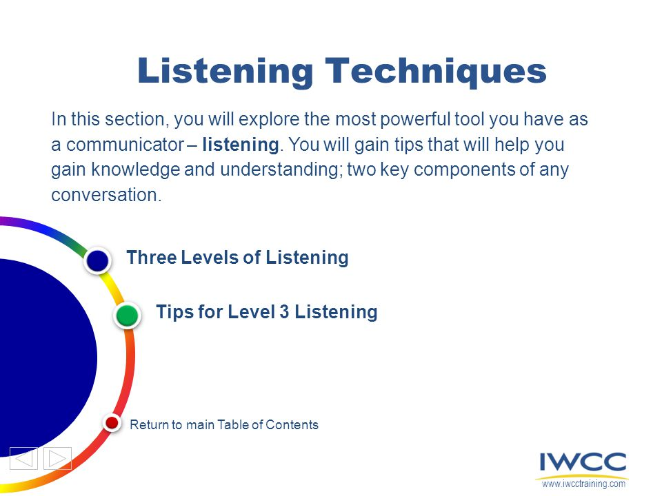 Listening Techniques In this section, you will explore the most powerful tool you have as a communicator – listening.
