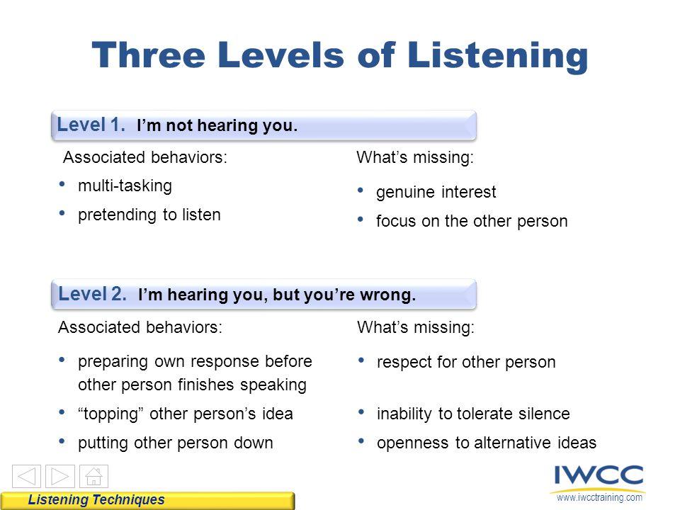 www.iwcctraining.com Three Levels of Listening Level 1.