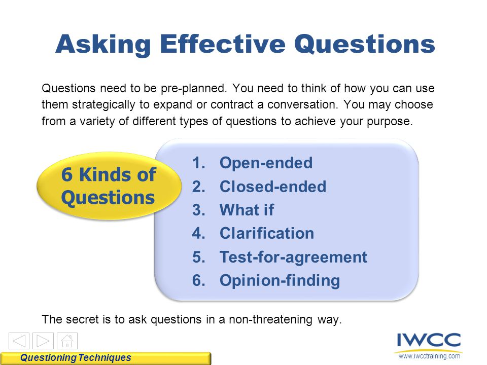 www.iwcctraining.com Asking Effective Questions Questioning Techniques 6 Kinds of Questions 1.Open-ended 2.Closed-ended 3.What if 4.Clarification 5.Test-for-agreement 6.Opinion-finding Questions need to be pre-planned.
