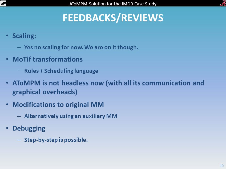 AToMPM Solution for the IMDB Case Study FEEDBACKS/REVIEWS Scaling: – Yes no scaling for now.