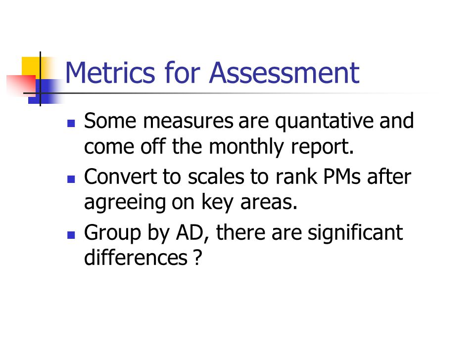 Metrics for Assessment Some measures are quantative and come off the monthly report.