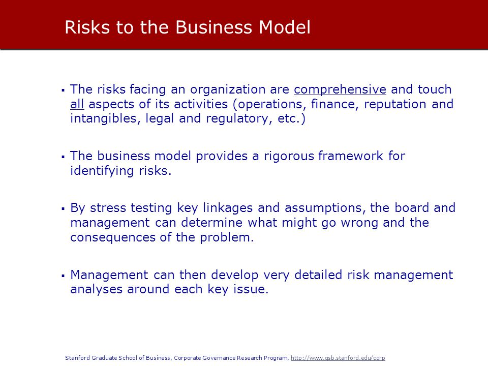 Stanford Graduate School of Business, Corporate Governance Research Program, http://www.gsb.stanford.edu/cgrphttp://www.gsb.stanford.edu/cgrp  The risks facing an organization are comprehensive and touch all aspects of its activities (operations, finance, reputation and intangibles, legal and regulatory, etc.)  The business model provides a rigorous framework for identifying risks.