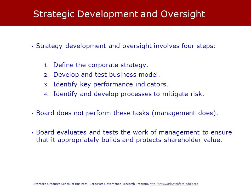 Stanford Graduate School of Business, Corporate Governance Research Program, http://www.gsb.stanford.edu/cgrphttp://www.gsb.stanford.edu/cgrp  Strategy development and oversight involves four steps: 1.