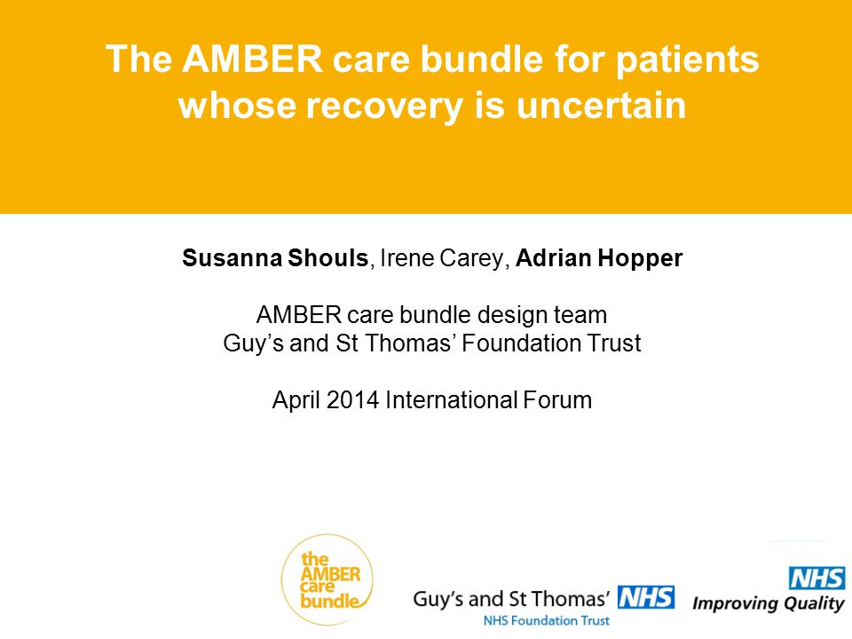 Susanna Shouls, Irene Carey, Adrian Hopper AMBER care bundle design team Guy's and St Thomas' Foundation Trust April 2014 International Forum The AMBER care bundle for patients whose recovery is uncertain