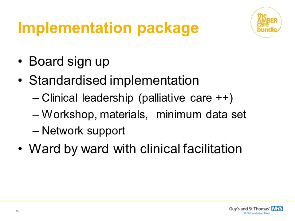 Implementation package Board sign up Standardised implementation –Clinical leadership (palliative care ++) –Workshop, materials, minimum data set –Network support Ward by ward with clinical facilitation 16