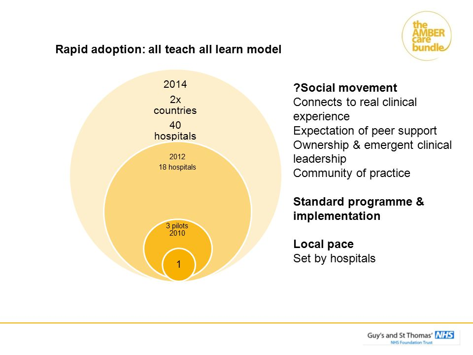 Social movement Connects to real clinical experience Expectation of peer support Ownership & emergent clinical leadership Community of practice Standard programme & implementation Local pace Set by hospitals Rapid adoption: all teach all learn model