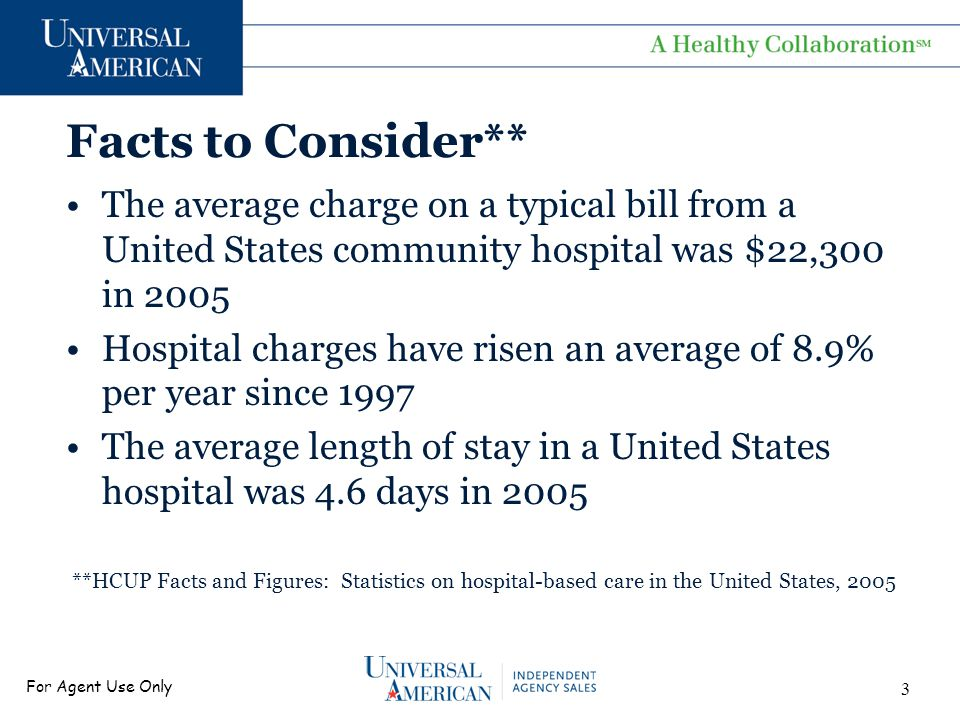 For Agent Use Only Facts to Consider** The average charge on a typical bill from a United States community hospital was $22,300 in 2005 Hospital charges have risen an average of 8.9% per year since 1997 The average length of stay in a United States hospital was 4.6 days in 2005 **HCUP Facts and Figures: Statistics on hospital-based care in the United States, 2005 3