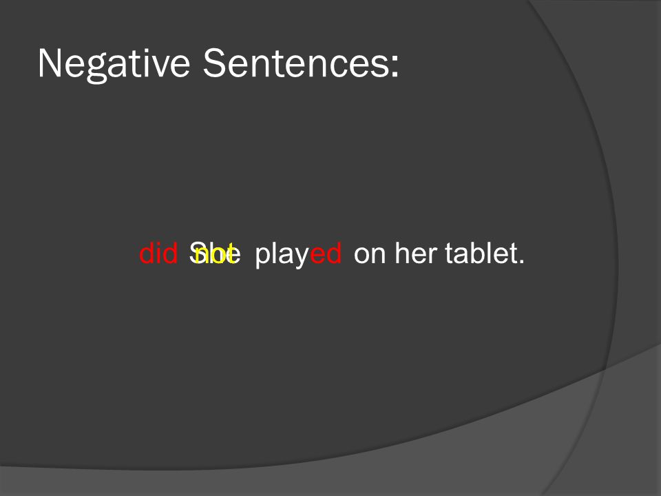 Negative Sentences: playSheon her tablet.eddidnot