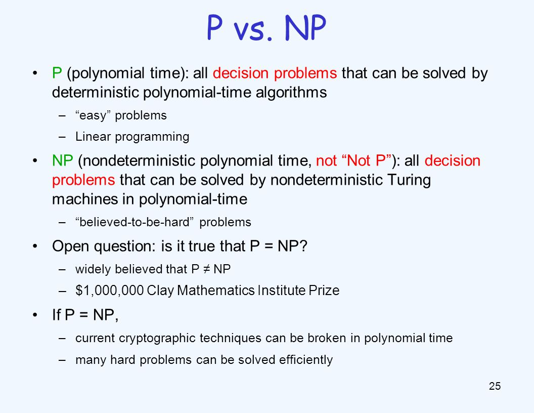 P (polynomial time): all decision problems that can be solved by deterministic polynomial-time algorithms – easy problems –Linear programming NP (nondeterministic polynomial time, not Not P ): all decision problems that can be solved by nondeterministic Turing machines in polynomial-time – believed-to-be-hard problems Open question: is it true that P = NP.