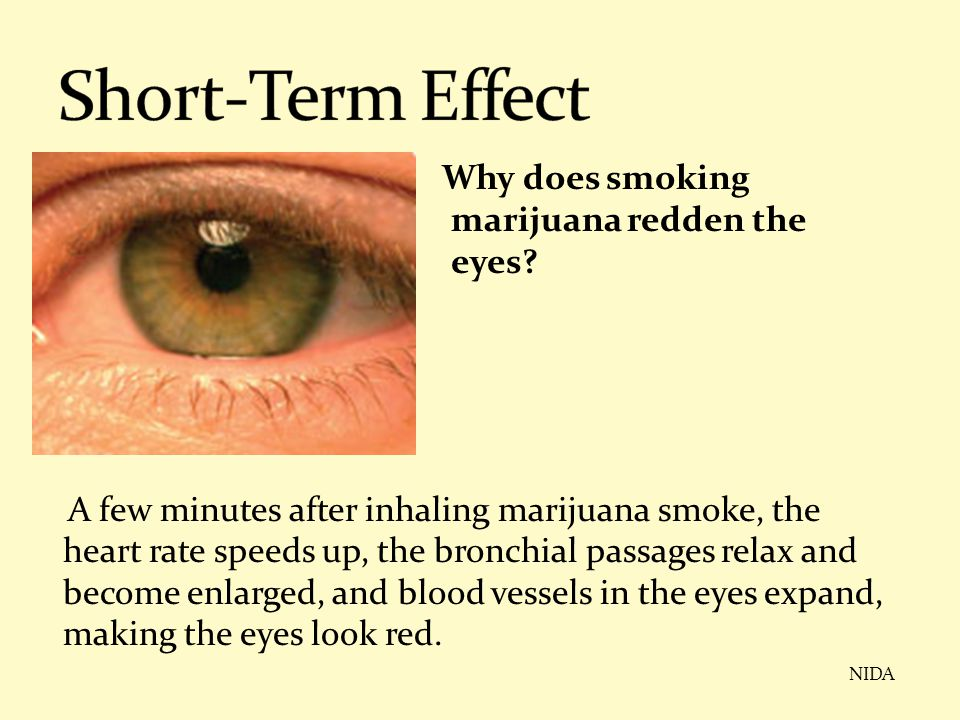 Why does smoking marijuana redden the eyes? A few minutes after inhaling marijuana smoke, the heart rate speeds up, the bronchial passages relax and b