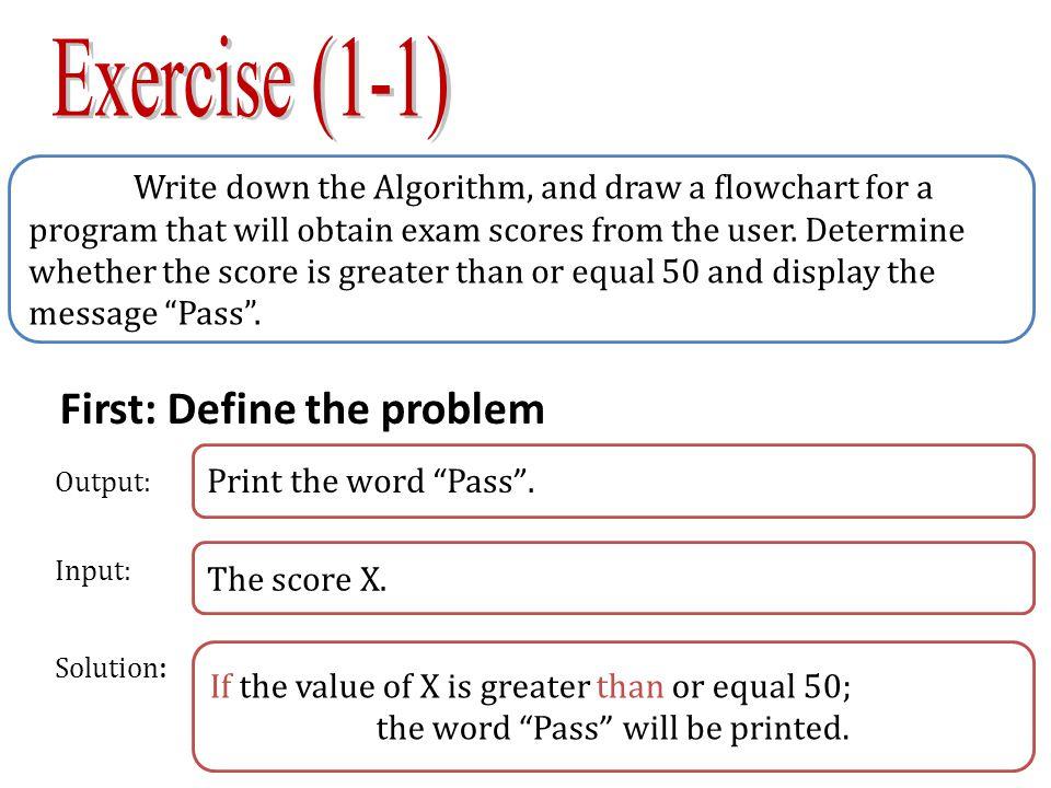 Second: AlgorithmThird: Flowchart Start Enter X X>=50 Print Pass End No 1 Start 2 Enter the values of X 3 If x>= 50 then 3-1 print Pass 4 End Yes