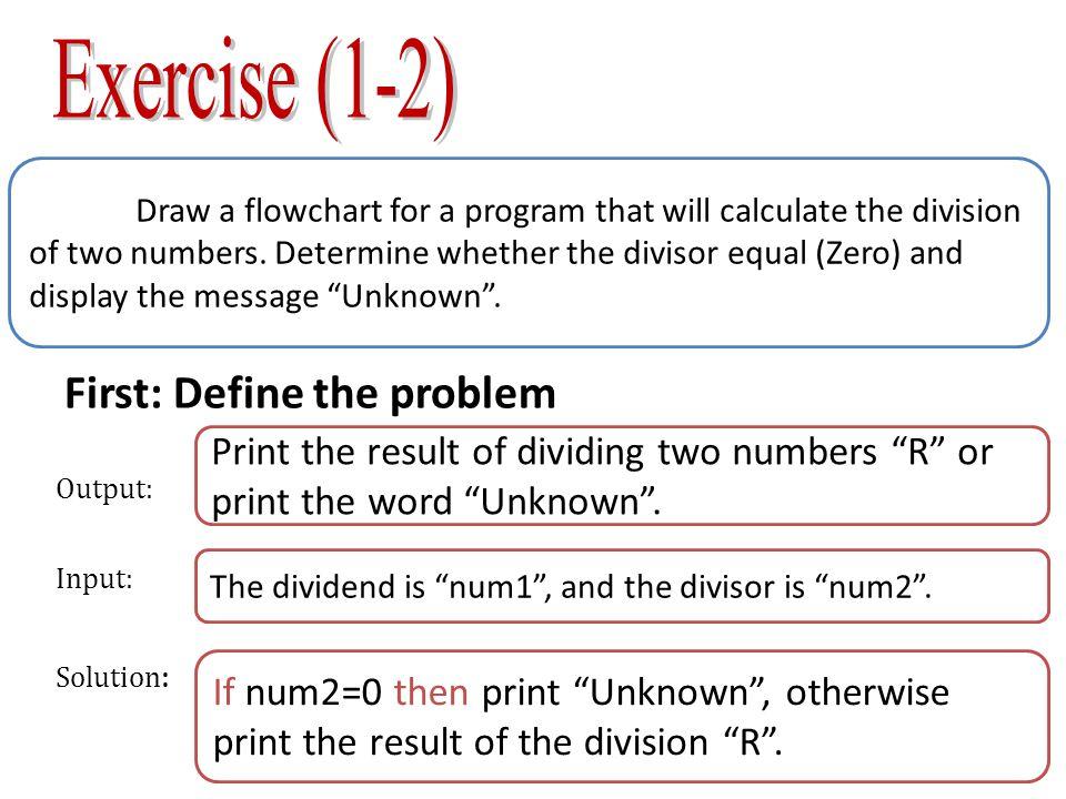 Second: Algorithm Third: Flowchart Start Enter Num1 X>=50 Print unknown End No Enter Num2 R = Num1/Num2 Print R 1 Start 2 Enter the divided num1 3 enter the divisor Num2 4 If Num2= 50 then 4-1 print unKnown 4-2 go to step 7 5 R=Num1/Num2 6 Print R 7 End Yes