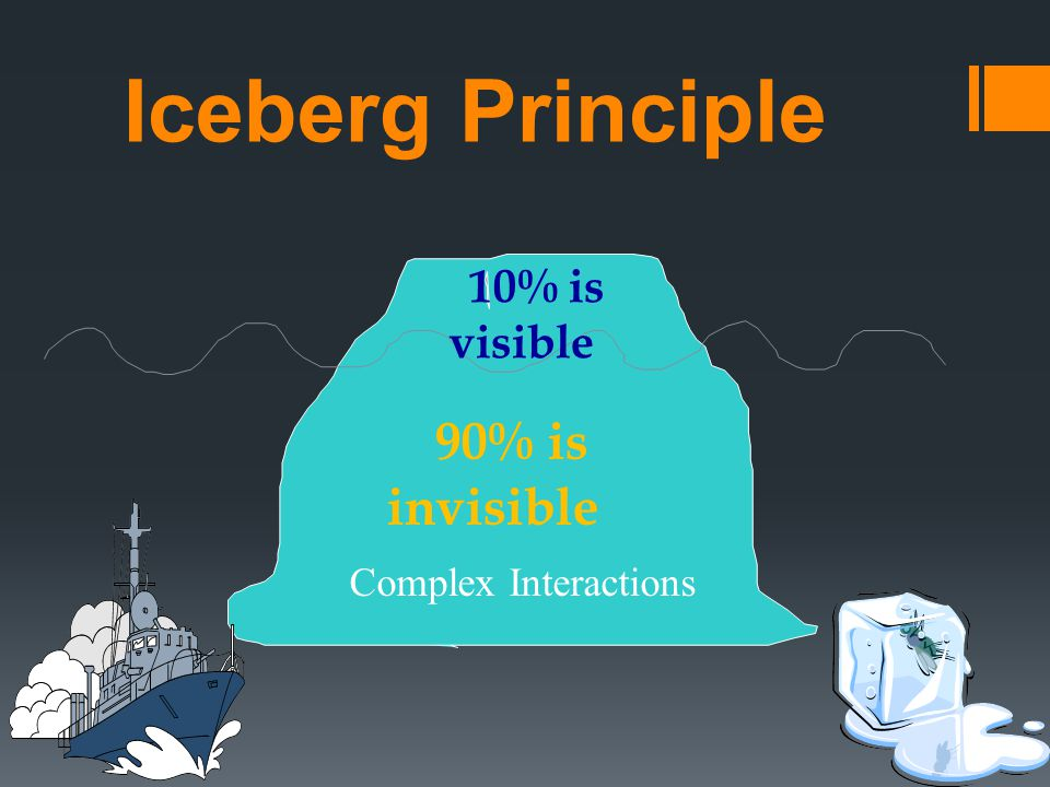 Iceberg Principle 10% is visible 90% is invisible Complex Interactions
