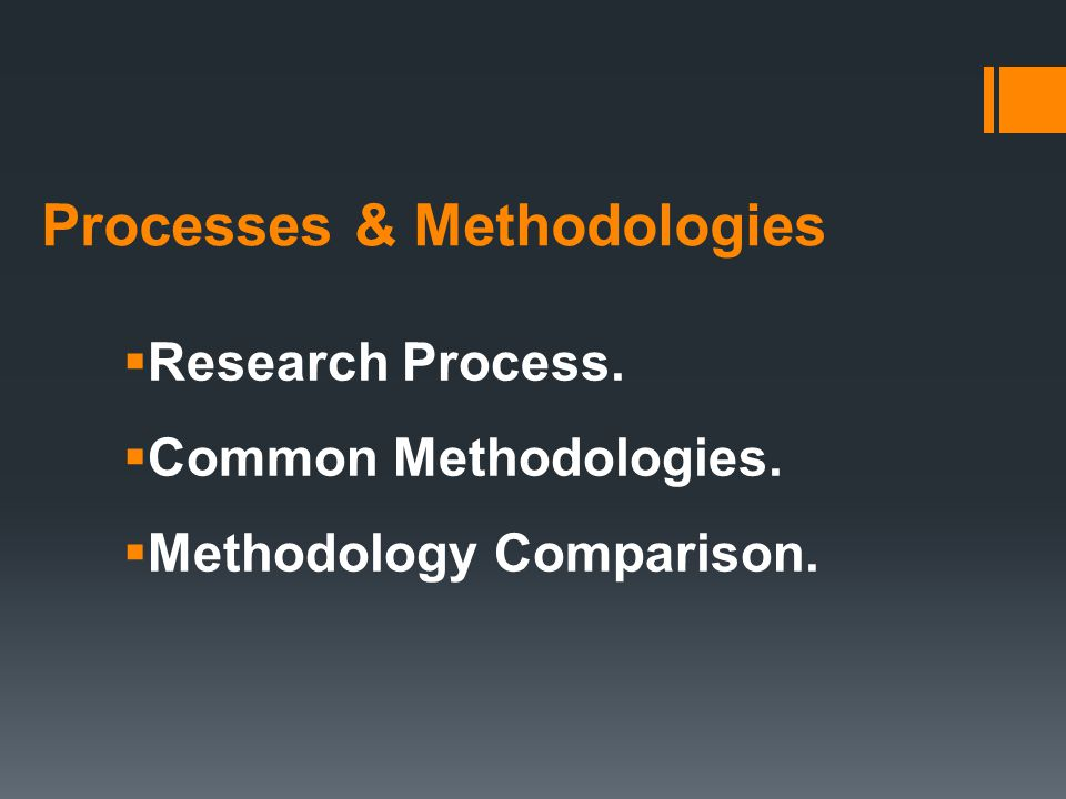 Processes & Methodologies  Research Process.  Common Methodologies.  Methodology Comparison.