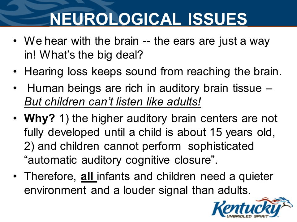 Cabinet for Health and Family Services The Auditory Window Hearing begins prior to birth The auditory cortex is wired by 1 st birthday By 6 months of age, Language dependant auditory maps are apparent in children.