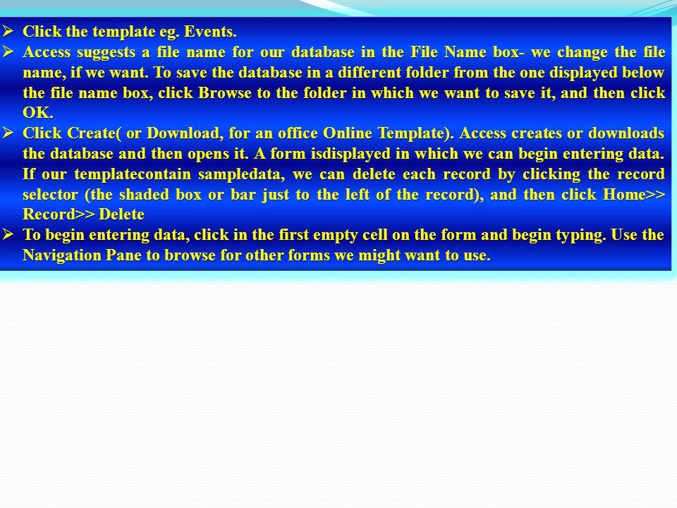 CCCClick the template eg. Events.