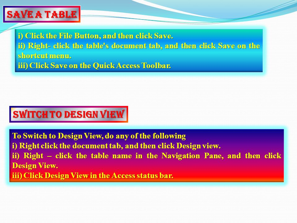 Switch to Design View To Switch to Design View, do any of the following i) Right click the document tab, and then click Design view.