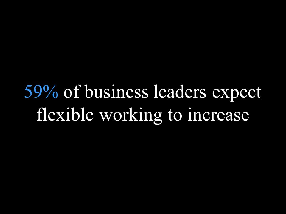 Blank page 59% of business leaders expect flexible working to increase