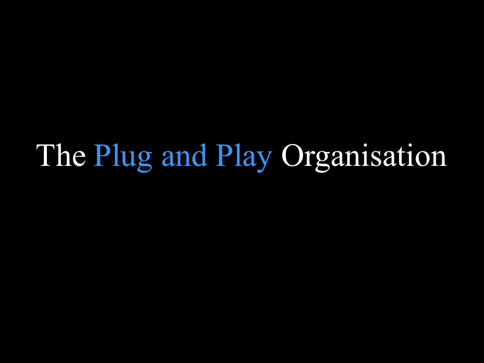 Blank page The Plug and Play Organisation