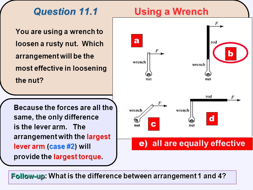 You are using a wrench to loosen a rusty nut. Which arrangement will be the most effective in loosening the nut? a c d b largest lever armcase #2 larg