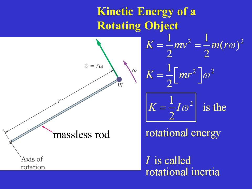 Kinetic Energy of a Rotating Object massless rod