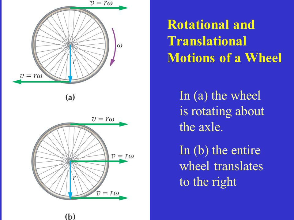 Rotational and Translational Motions of a Wheel In (a) the wheel is rotating about the axle. In (b) the entire wheel translates to the right