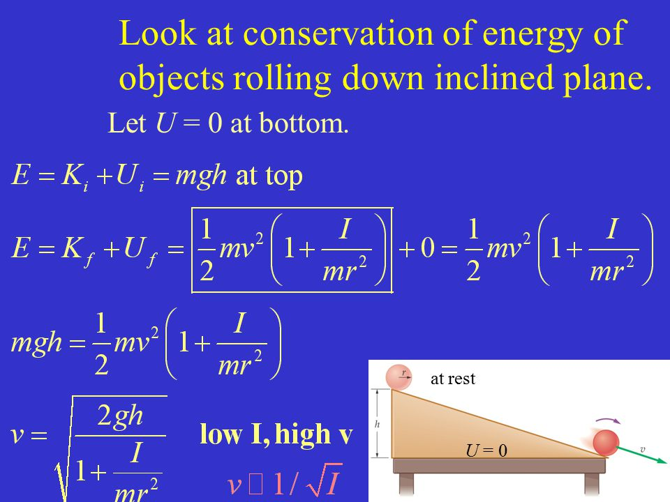 Look at conservation of energy of objects rolling down inclined plane. Let U = 0 at bottom. U = 0 at rest
