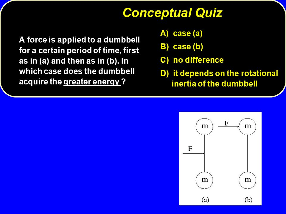 A) case (a) B) case (b) C) no difference D) it depends on the rotational inertia of the dumbbell A force is applied to a dumbbell for a certain period