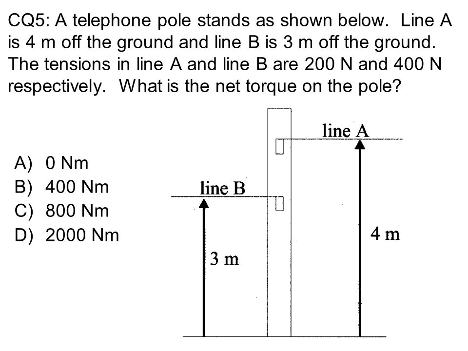 CQ5: A telephone pole stands as shown below. Line A is 4 m off the ground and line B is 3 m off the ground. The tensions in line A and line B are 200
