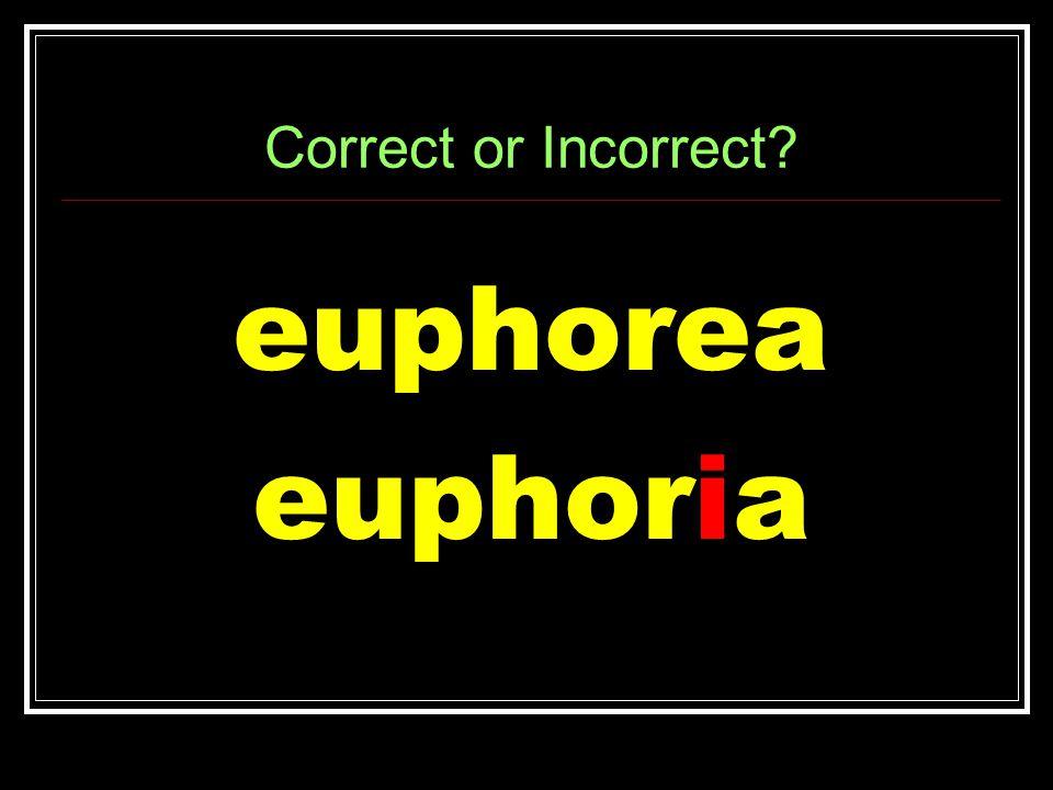 Correct or Incorrect euphorea euphoria