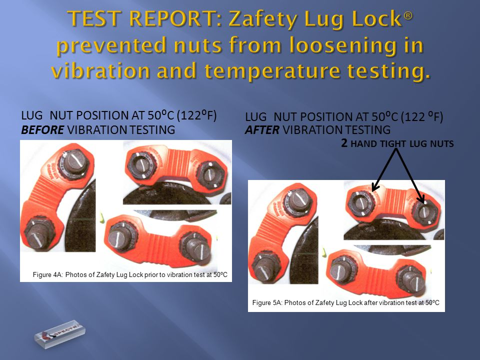LUG NUT POSITION AT 50⁰C (122⁰F) BEFORE VIBRATION TESTING LUG NUT POSITION AT 50⁰C (122 ⁰F) AFTER VIBRATION TESTING 2 HAND TIGHT LUG NUTS Figure 4A: Photos of Zafety Lug Lock prior to vibration test at 50 ⁰ C Figure 5A: Photos of Zafety Lug Lock after vibration test at 50 ⁰ C