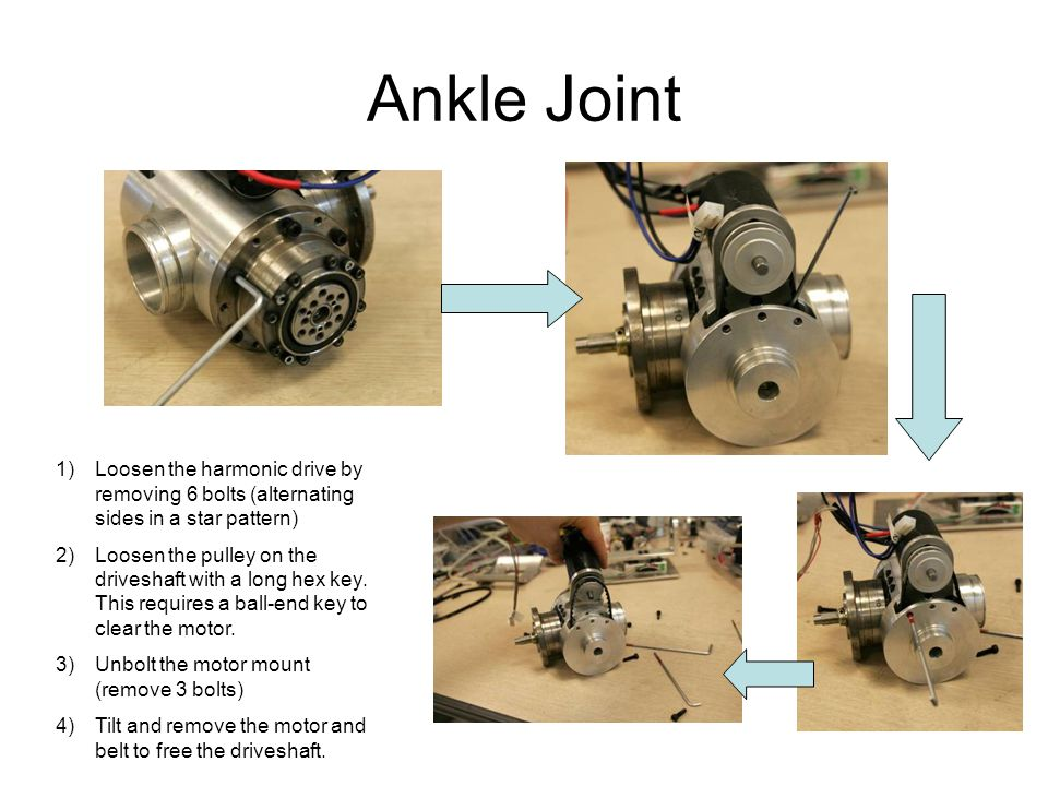 Ankle Joint 1)Loosen the harmonic drive by removing 6 bolts (alternating sides in a star pattern) 2)Loosen the pulley on the driveshaft with a long hex key.