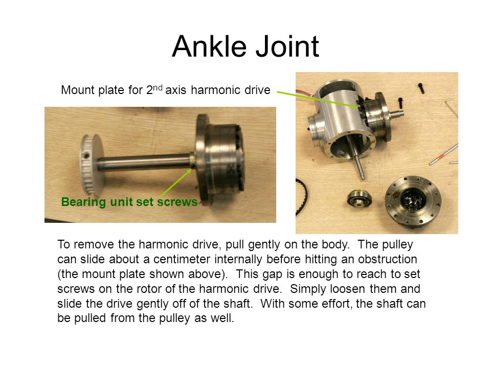 Ankle Joint To remove the harmonic drive, pull gently on the body.